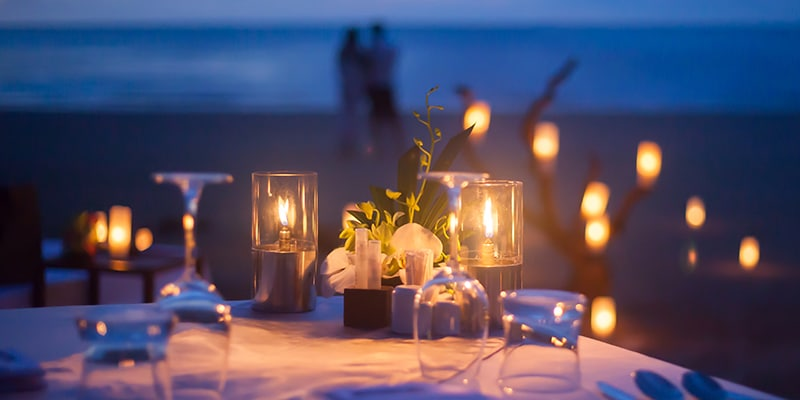 romantic beach scenery