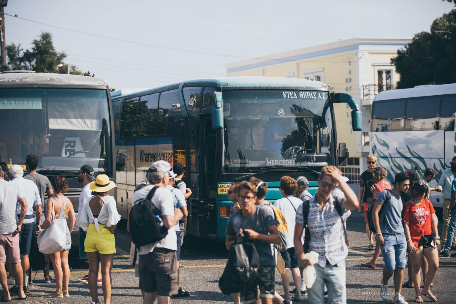 Traveling around Santorini in Buses